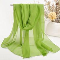 Wholesale Mix Colors All Match Women Scarves Pure Color Chiffon Wrap Big Size Lady Scarf