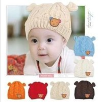 big fashion labels - Big Discount New Baby Hats Cartoon Label Bear Ear Cap Fashion Autumn Winter Hat Children Hat Girls Boys Retail A5