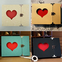 bamboo photography - Creative Hollowed Heart Love Shape Photo Photography Image Album Scrapbook Green Cover DIY Craft Gift