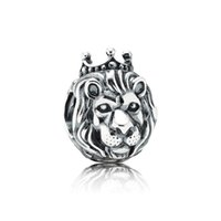 lion charms - Lion King Lion Head Silver Charms Lion Charm Sterling Silver European Beads Fit Pandora Style Chain Lw390