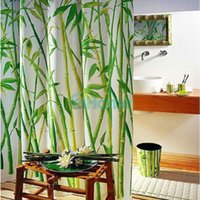 bamboo fabric curtains - Green Bamboo Natural Landscape Design Bathroom Shower Curtain Fabric Hooks