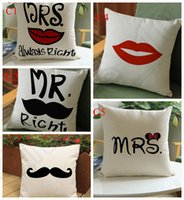 big couches - 10 Design Solid Polyester Linen Cushion Cover Big Beard and red lips Printing Throw Pillow Cover Case Couch cm LJJJ39