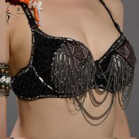 Cheap New Fashion Tribal Top Belly Dance Bra Performance Dancewear Tribe Stlye Clothing BRONZE MATTE ALUMINUM SHEET
