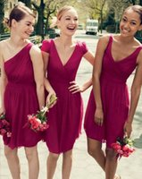 olive tree - 2015 Short Bridesmaid Dresses Tree Styles One Shoulder Cap Sleeves Sleeveless Pleated Chiffon Knee Length Burgundy Red Purple Maid Of Honor