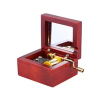 Wholesale High Quality Red Wood Musical Box Gold Movement Hand Crank Music Box with Built in Mirror Melody Castle in the Sky