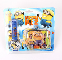 Wholesale 2015 Summer Minions Frozen Watch Sets Anna Elsa Wallet in Purse Kids Fashion Quartz Cartoon Cute Boy Girl Children Watch Teenage Mu
