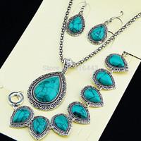 antique drop earrings - 2015 New Hot Sale Antique Silver Water Drop Turquoise Earrings Bracelet Necklace Women Vintage Wedding Jewelry Set A1002