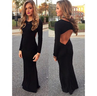 Cheap 2016 Simple Black Mermaid Prom Dresses Sexy Open Back Long Sleeves Dress For Teens Evening Gowns