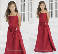 Wholesale Customize New Cheap Long Floor Length Sash Burgundy Made Formal Applique Ball Gown Fashion Little Girls Pageant Flower Girl Dresses Gowns