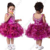 girls knee length pageant dresses - Fuchsia Short Organza Tank Style Princess Girl Pageant Dresses Toddler Short Dresses Jewel Neckline Knee Length Kids formal wear