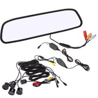 Wholesale 12V Parking Sensors quot TFT LCD Display Camera Car Rearview Mirror Reverse Radar System Wireless Transmitter assistance