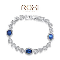Wholesale FG ROXI Best Gift For Girlfriend Genuine Austrian Blue Crystals Classic Luxury Bracelet Platinum Plated Fashion Jewelry20600031400