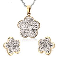 Wholesale gold plated crystal inlaid necklace and earrings stainless steel flower shape jewelry set