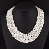 bead woven necklaces - Multi Beads String Weave Chunky Chain Bib Chokers Collar Statement Necklaces New Fashion Necklaces For Women N2694