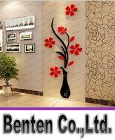 Wholesale Vase Plum flower Crystal arcylic wall stickers d Three dimensional Living room wall sticker Bedroom TV Entrance Decorative LLFA4915F