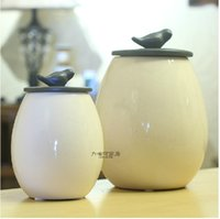 Wholesale White porcelain of crack small pure and fresh and the bird ceramics food storage tank Candy dried fruit tea pot