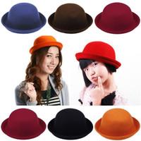 Wholesale Vintage Women Lady Cashmere Derby Bowler Hats Outdoor Fashion Cloches Caps Colors Choose DDP