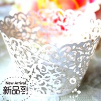 Wholesale 120pc White Laser cut Lace Cake Wrapper Cupcake Wrapper Wedding Chistmas Brithday Party Cupcake