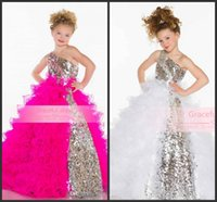 Wholesale Blingbling Fuchsia White Organza Girl s Pageant Dresses Backless Sequins One Shoulder Pleats Ruffle Princess Flower Girl s Gown S