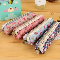 Wholesale 5pcs Cute Canvas Flower Pencil Case Kawaii Cartoon Pencil Bag Stationery For School Girl cm