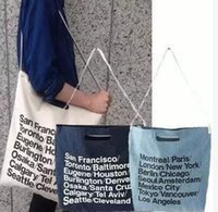 apparel handbags - Women causal basic handbag AA vintage American Apparel blue woven cotton city bag with strap canvas letter Shopping Bag