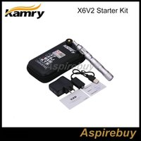 Cheap Kamry X6 V2 Eletronic Cigarettes Starter Kit Kamry X6 1300mah Variable Voltage VV eGo Battery With 2.5ml 510 V2 Atomizer and Zip Case
