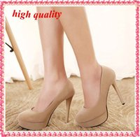 nude pumps - Platform waterproof Women Pumps High Heels round toe Sexy Wedding shoes Party Korean style Women Stiletto nude pumps pink Y413