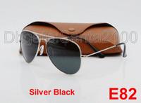 Wholesale 1pcs Designer Classic Pilot Sunglasses Mens Womes Sun Glasses Eyewear Silver Frame Black mm Glass Lenses Metal With Better Brown Case