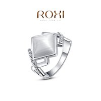 Couple Rings Engagement Tension setting FG ROXI Chirstmas Gift Platinum Plated Romantic Rhombus Opal Ring Statement Rings Fashion Jewelry For Women Party Wedding