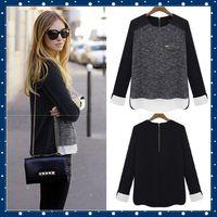Wholesale Summer Women Shirt Clothes Fashion Blusas Femininas Chifon Tops Wear Vintage Black Blouse Plus size Tonsee