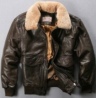 avirex jackets - Fall Avirex air force flight jacket fur collar genuine leather jacket men dark brown sheepskin coat winter pilot bomber jacket male