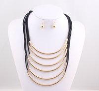 anniversary tube - Fashion Many Rubber Band Metal Pipe Tube Multilayer Statement Necklace Earrings Jewelry Set for Women Dress JJAL ZST66