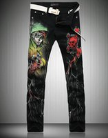 animal print skinny jeans - New Cool Stylish Fashion Jeans Men Skinny Black Slim Fit Mens Print Jeans Pant Designers Gothic Fancy Floral Men MB565 Z25