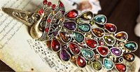 Wholesale New Arrive Palace Noble Classic Vintage Peacock Hair Accessories Multicolour Crystal Peacock Hair Clip Hairpin