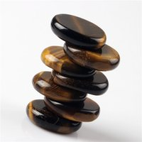 Wholesale Yellow Tiger eye pieces Palm stone Reiki Healing Chakra Plam with Free pouch