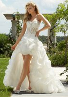 Wholesale PO1150 Fashionable High Low Organza Wedding Dresses Sweetheart Asymmetric Garden Party Prom Bridal Gown With Ruffles Cheap China Custom