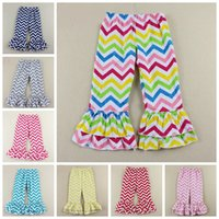 Wholesale hot sale girl s bottoms children s kids girl s tiered two layers ruffled chevron flare pants waved pattern pants cotton