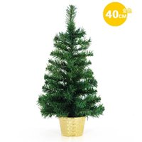 Cheap Wholesale-Hot Sale- 40cm green Silver Blue Yellow PVC Christmas tree bonsai Office and house desk Decoration Artificial christmas tree