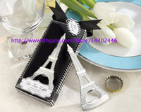 aluminum items - 50pcs DHL Creative novelty home party items The Eiffel Tower Chrome bottle opener wedding favors gift box packaging