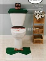bathroom stuff - Christmas Christmas Decorations Happy Green Snow Man Toilet Seat Cover and Rug Bathroom Set For Natal
