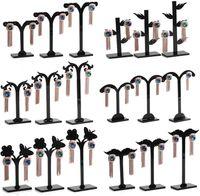acylic display - Black Acylic Earring Tree Shaped Display Stand Holder Fashion Three piece Goat Horn Small Earring Display Rack Storage