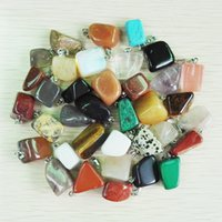 jade - mixed Natural stone Rose Quartz Irregular shape Opal pendants charms jade agate stone pendants