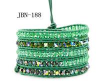 5 couches de bracelets en cuir vert tressé à la main 4MM vert bracelets de tissage en cuir tissé en cuir pour hommes 3pcs / lot bijoux à l'infiniJBN-188