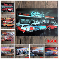 american car craft - Restaurant DINNER CAR Metal Painting Vintage Wall Decor Cafe Tin Sign Art Bar Vintage Metal Craft Ainting CM