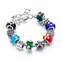 Cheap Wholesale-AA61 Christmas Gift European Charms 925 Crystal Beads Glass Charms Cherry Pandent European Style Bracelets for women Jewelry