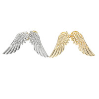 Wholesale Hot Fashion Punk Wings Style Collar Clip Brooch Pin Gold Silver Plated Brooches for Women Men Boy Girl order lt no track
