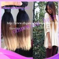 Cheap HOT NEW !!! Ombre Color Straight Weaves Weft #1b#4#27 100% Virgin Brazilian Remy Hair Extensions 12~30 Inch 3pcs lot Free Shipping