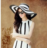 Cheap European fashion Women Classical Stripe Zebra Floppy Straw hat ladies Wide 17CM Brim Beach Hat girls Sun Cap