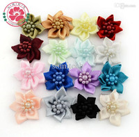 beads center - 1 Handmade Baby Satin Ribbon Flowers Beads Center Hair Accessories For Baby Girl Headband Dress Decoration
