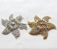 trimmings - cm six pointed starfish shape AB crystal rhinestone applique gold stone trimmings for garment decoration